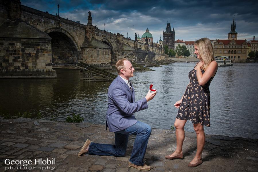 Prague engagement photo shoot for Surprise engagement photo shoot